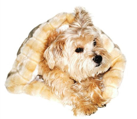 Caramel Mink Plush Cozy Sak Dog Bed - ZoeDoggy of Beverly Hills