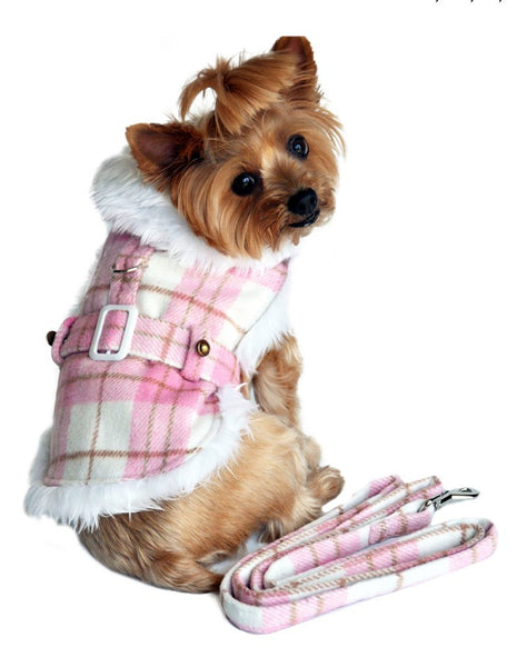Pink and White Plaid Dog Coat with Leash - ZoeDoggy of Beverly Hills