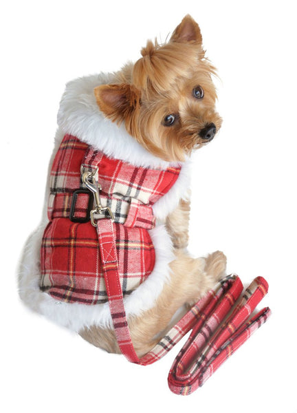 Red Plaid Dog Coat with Leash - ZoeDoggy of Beverly Hills