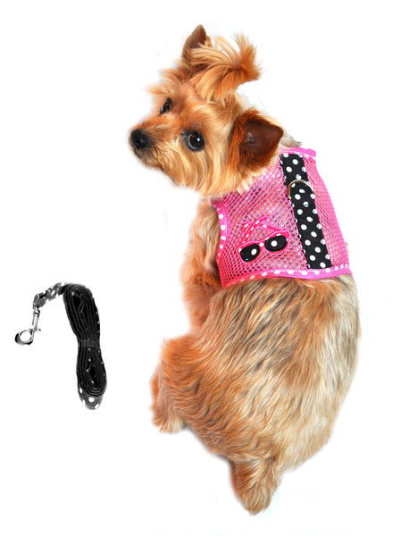 Sea Cool Mesh Velcro Harness with Matching Leash - Sunglasses Pink and Black - ZoeDoggy of Beverly Hills