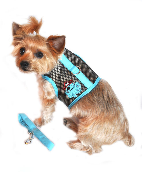 Sea Cool Mesh Velcro Harness with Matching Leash - Octopus Pirate Blue and Black - ZoeDoggy of Beverly Hills