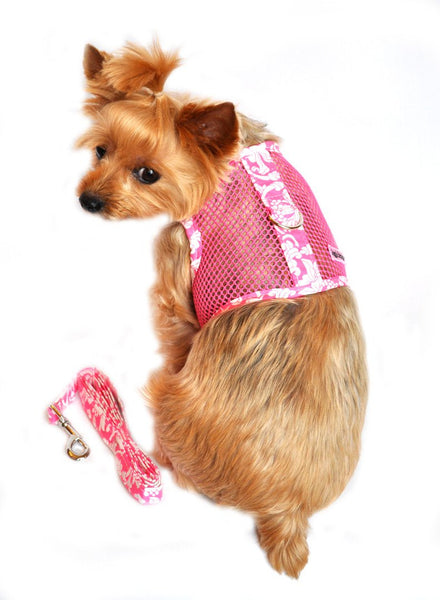 Cool Mesh Velcro Harness with Leash - Pink Hawaiian Hibiscus - ZoeDoggy of Beverly Hills