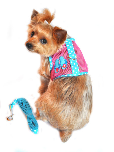 Sea Cool Mesh Velcro Harness with Matching Leash - Flip Flop Pink and Ocean Blue Dot - ZoeDoggy of Beverly Hills