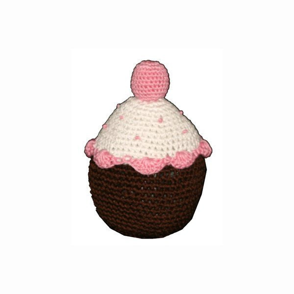 Dental Dog Toy: Hip Doggie Cotton Crochet Cupcake - ZoeDoggy of Beverly Hills