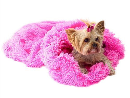 Hot Pink Powder Puff Plush Cozy Sak Dog Bed - ZoeDoggy of Beverly Hills