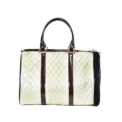 Ivory Quilted with Brown Shiny Trim JL Duffel Tote Doggy Handbag by Petote - ZoeDoggy of Beverly Hills