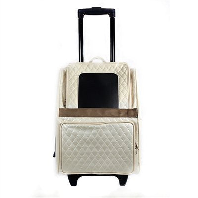 Ivory Quilted Luxe Rio Dog Carrier by Petote - ZoeDoggy of Beverly Hills