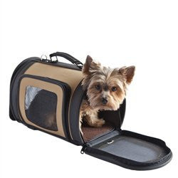 Tan & Black Kelle Dog Carrier Bag by Petote - ZoeDoggy of Beverly Hills