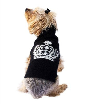Luxury Diana Crown Angora Blend Turtleneck, Black and White Intarsia - ZoeDoggy of Beverly Hills
