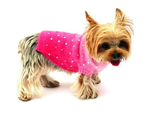Luxury Sparkle Angora Blend Turtleneck, Pink Sunset Dip Dye - ZoeDoggy of Beverly Hills