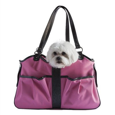 Pink & Black Metro 2 Doggy Handbag by Petote - ZoeDoggy of Beverly Hills