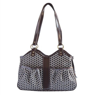 Espresso Dot Metro 2 Doggy Handbag by Petote - ZoeDoggy of Beverly Hills