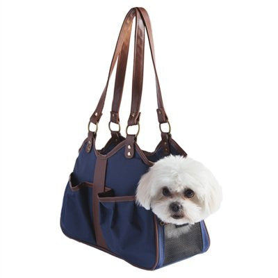 Navy/Tan Trim Metro 2 Doggy Handbag by Petote - ZoeDoggy of Beverly Hills