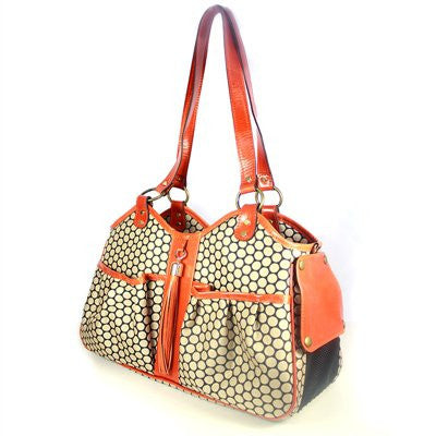 Tangerine Leather Trim Metro Couture Doggy Handbag by Petote - ZoeDoggy of Beverly Hills