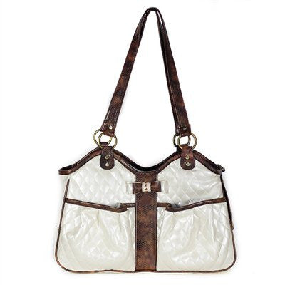 Ivory Quilted Metro Doggy Handbag with Bow by Petote - ZoeDoggy of Beverly Hills
