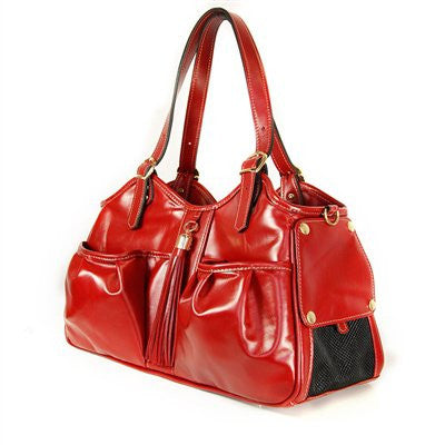 Ruby Red Tassel Metro Doggy Handbag by Petote - ZoeDoggy of Beverly Hills