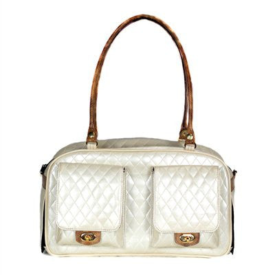 Ivory Quilted with Snake Marlee Bag Doggy Handbag by Petote - ZoeDoggy of Beverly Hills