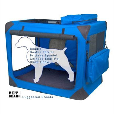 Medium Deluxe Soft Crate, Generation II - Blue Sky by Pet Gear - ZoeDoggy of Beverly Hills