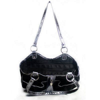 Black & Silver Metro Classic Doggy Handbag by Petote - ZoeDoggy of Beverly Hills