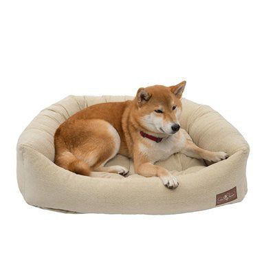 Jax and Bones Napper Dog Bed - Tweed Creme - ZoeDoggy of Beverly Hills