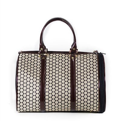 Noir Dots JL Duffel Tote Doggy Handbag by Petote - ZoeDoggy of Beverly Hills