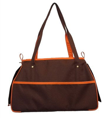 Chocolate Brown & Orange Charlie Bag Doggy Handbag by Petote - ZoeDoggy of Beverly Hills