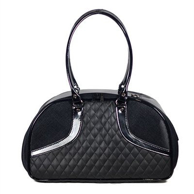 Black Quilted Luxe Roxy Doggy Handbag by Petote - ZoeDoggy of Beverly Hills