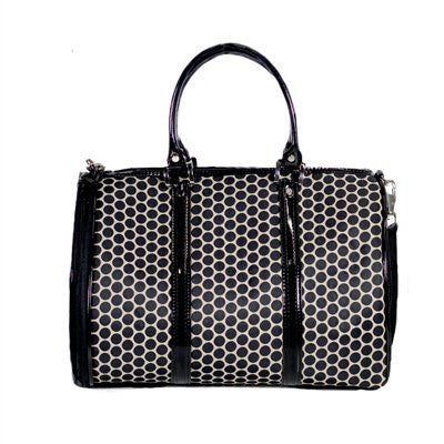 Reverse Noir Dots JL Duffel Tote Doggy Handbag by Petote - ZoeDoggy of Beverly Hills
