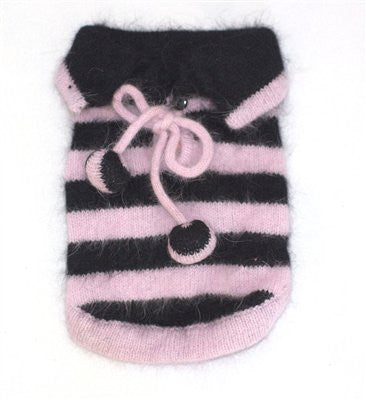 St. Tropez Stripe Angora Blend Sweater, Light Pink and Black stripes - ZoeDoggy of Beverly Hills