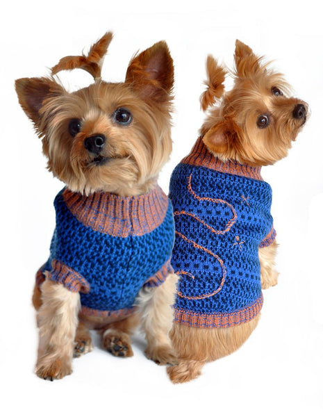 Blue and Beige Starry Night Dog Sweater - ZoeDoggy of Beverly Hills
