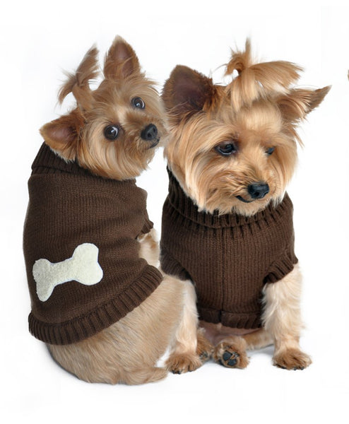 Brown Bone Dog Sweater - ZoeDoggy of Beverly Hills