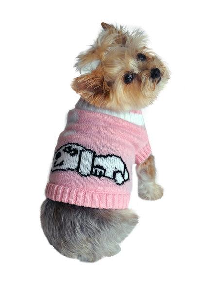 Dreaming Dog Sweater - Pink - ZoeDoggy of Beverly Hills