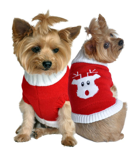 Red Rudolph Holiday Dog Sweater - ZoeDoggy of Beverly Hills