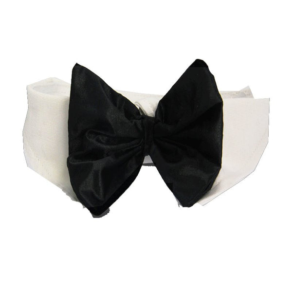 Black Satin Dog Bow Tie and Collar - ZoeDoggy of Beverly Hills