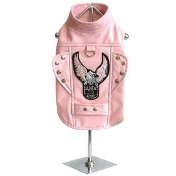 Born To Ride Motorcycle Dog Harness Jacket - Pink - ZoeDoggy of Beverly Hills
