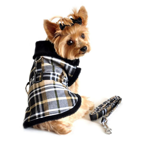 Classic Brown Plaid Dog Coat Harness with Matching Leash - ZoeDoggy of Beverly Hills