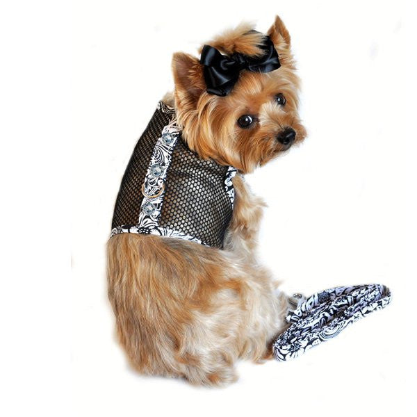 Black and White Floral Cool Mesh Dog Harness with Rhinestones and Leash - ZoeDoggy of Beverly Hills
