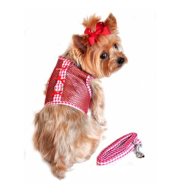 Red Gingham and Bows Cool Mesh Dog Harness and Leash - ZoeDoggy of Beverly Hills