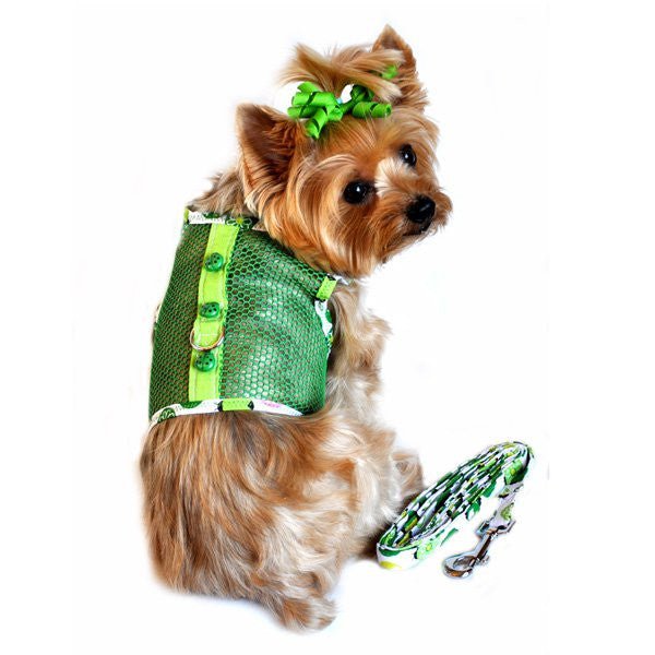 Green Lady Bug Cool Mesh Dog Harness and Leash - ZoeDoggy of Beverly Hills