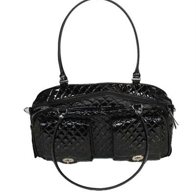 Shiny Black Quilted Marlee Bag Doggy Handbag by Petote - ZoeDoggy of Beverly Hills