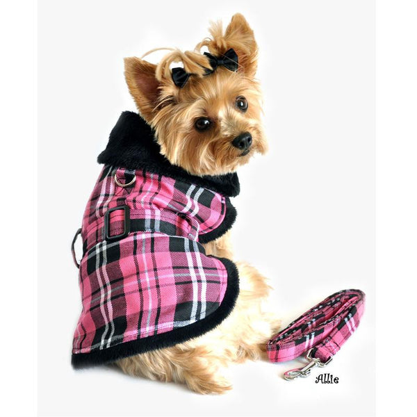 Pink Plaid Classic Dog Coat Harness with Matching Leash - ZoeDoggy of Beverly Hills