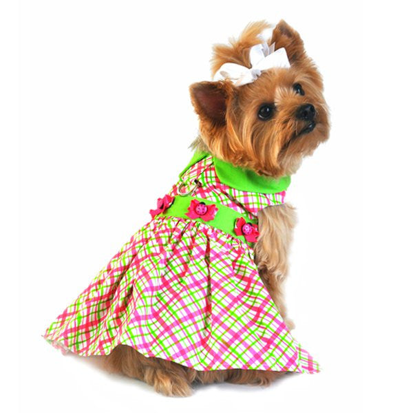 Plaid Dog Dress with Lady Bug Button - Pink and Green - ZoeDoggy of Beverly Hills