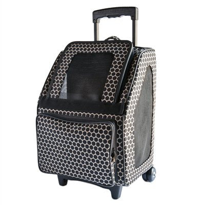 Reverse Noir Dots Rio Rolling Dog Carrier by Petote - ZoeDoggy of Beverly Hills
