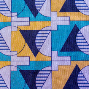 unity blue simplied geometric fabric