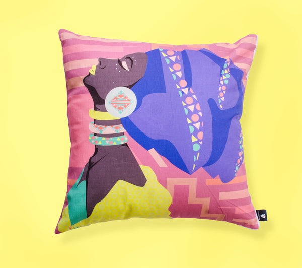 Lulasclan Mbali scatter cushion made of cotton digital print women with headwrap
