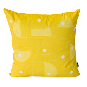 Citrus scatter cushion with geometrics