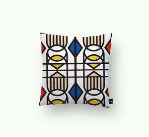 Geometric Balance_ red accents Scatter cushion - LulasClan