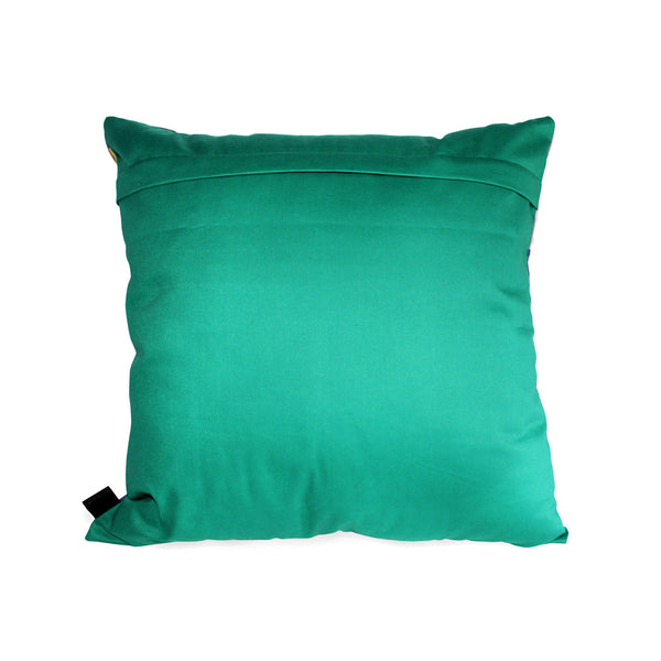 Forest green backing with a light shimmer scatter cushion