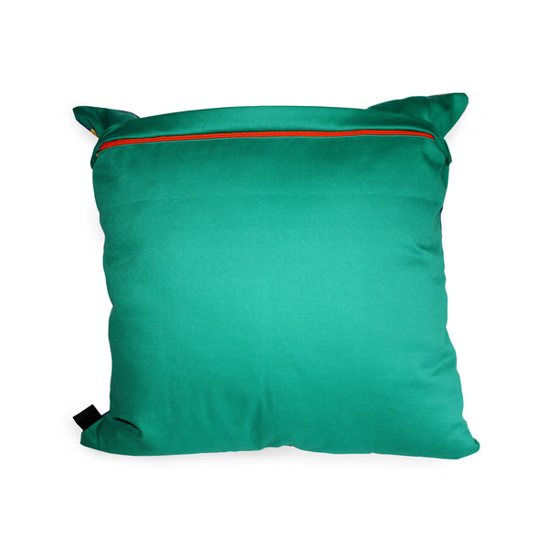 Forest green backing with bright pop of orange zip scatter cushion