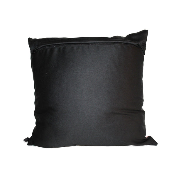 Trinity orange stained glass scatter cushion with black cotton background and black zip detail